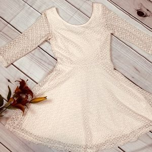 LUSH Fit & Flare Lace Dress - Cream - Jr. Small